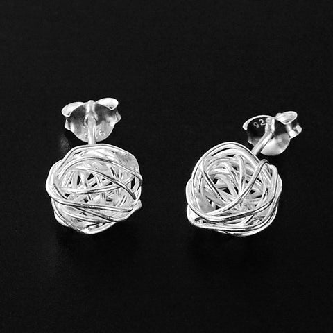 Sterling Silver Handmade Wire Stud Earrings