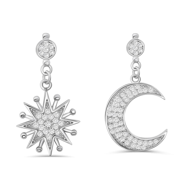 Sterling Silver Cz Moon and Star Earrings