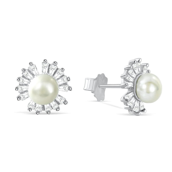 Sterling Silver Baguette Cut CZ Pearl Stud Earrings