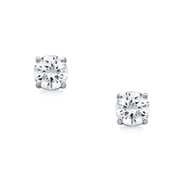 Sterling Silver 3 mm Cubic Zirconia Stud Earrings
