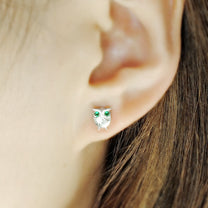 Green CZ Owl Silver Earrings Stud 2