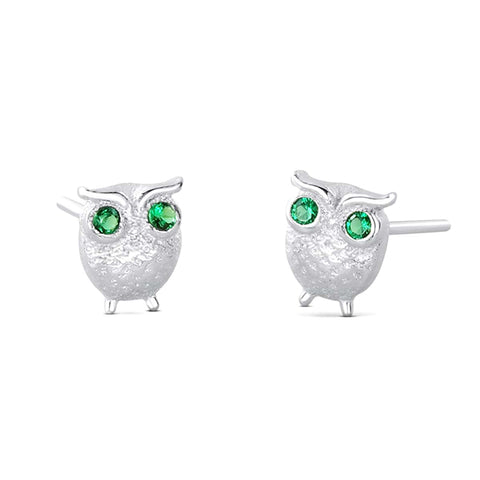 Green CZ Owl Silver Earrings Stud