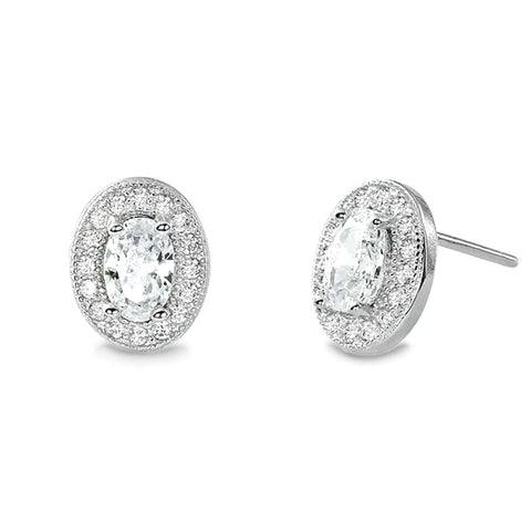 Sterling Silver Oval Cut Cubic Zirconia Halo Stud Earrings