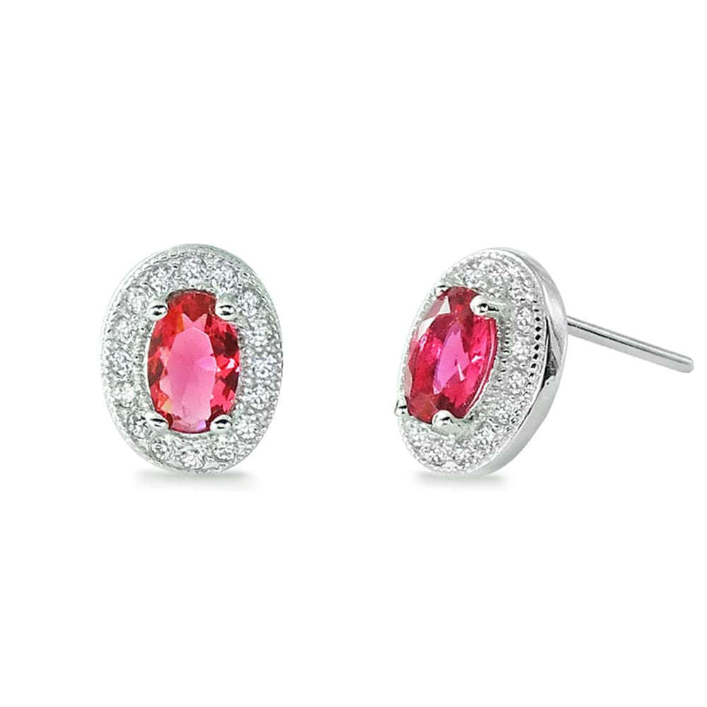 Sterling Silver Oval Cut Red CZ Halo Stud Earrings