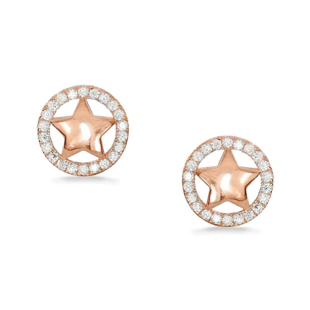 Rose Gold Plated Sterling Silver Cz Star Earrings Studs