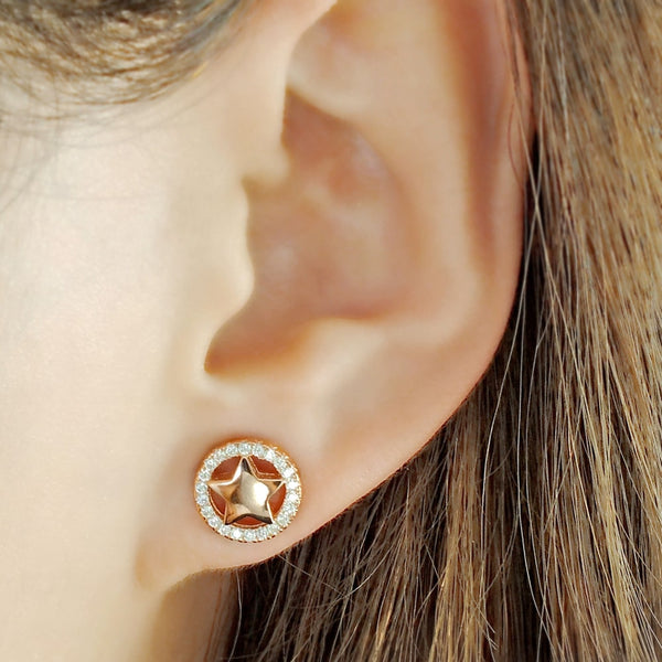 Rose Gold Plated Sterling Silver Cz Star Earrings Studs 2