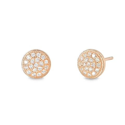 Rose Gold Plated 925 Silver Mini Pave Disc Round Circle Earrings Stud