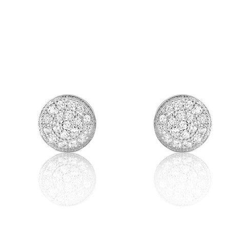 Mini Pave Disc Round Circle Stud Earrings