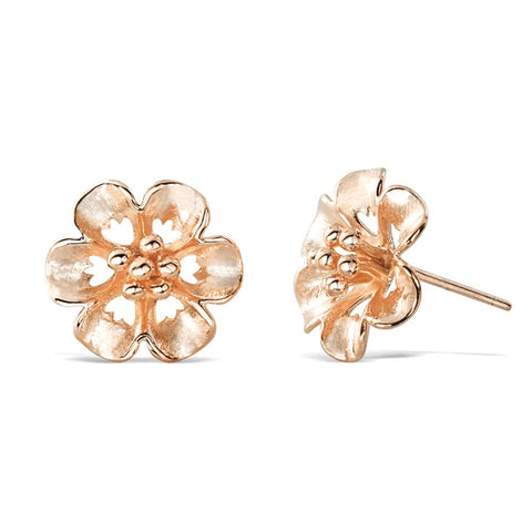 Rose Gold Plated Sterling Silver Flower Earrings