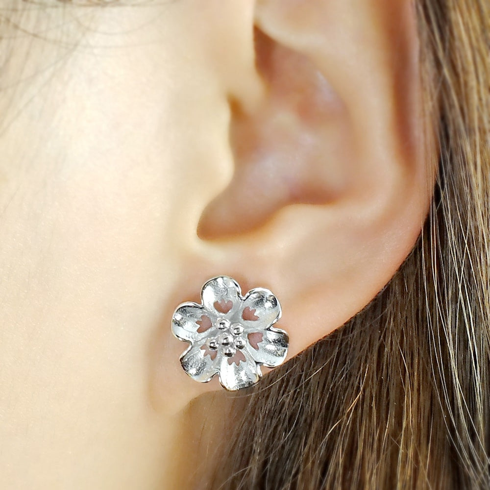 Sterling Silver Flower Stud Earrings for Women 2