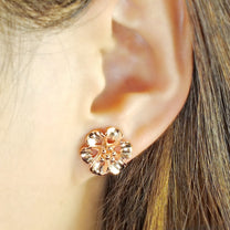 Rose Gold Plated Sterling Silver Flower Earrings 2
