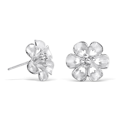 Sterling Silver Flower Stud Earrings for Women
