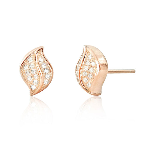 CZ Rose Gold Plated Sterling Silver Leaf Earrings