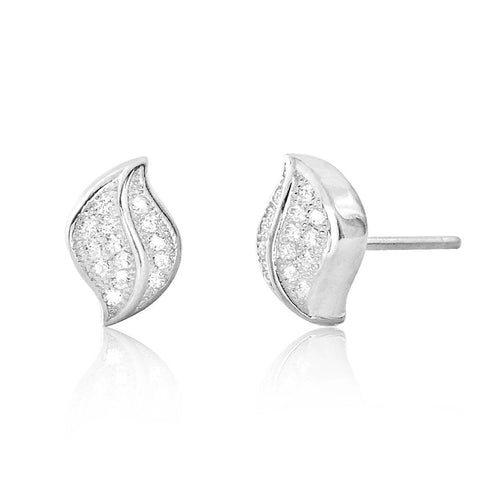 Cubic Zirconia Sterling Silver Leaf Earrings