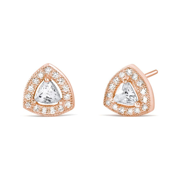 Rose Gold Plated Sterling Silver Trillion Cz Earrings Studs