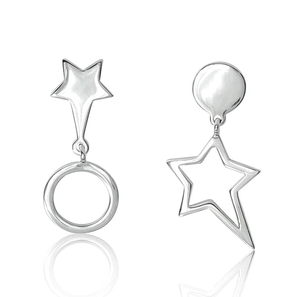 Hollow Circular Star Drop Stud Earrings