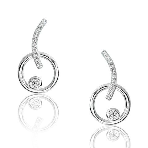 Beautiful Sterling Silver Circular Stud Earrings