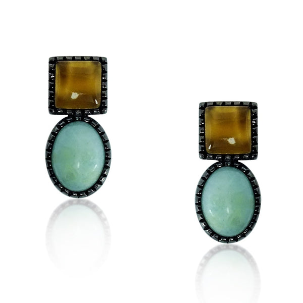 Stylish Natural Smoky Quartz and Amazonite Earrings Stud