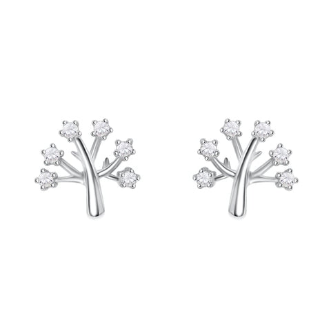Sterling Silver Cz Tree of Life Earrings Studs