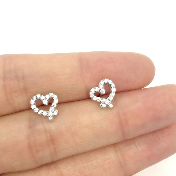 Small Sterling Silver Heart Stud Earrings