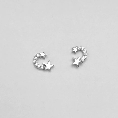 Sterling Silver Trendy Star Stud Earrings