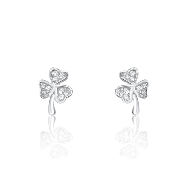 Sterling Silver Tiny Lucky Clover Earrings Studs