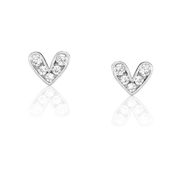 Sterling Silver Cute Heart Earrings Studs