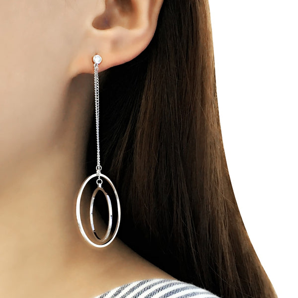 Sterling Silver Big Circle Round Drop Earrings for Women 2