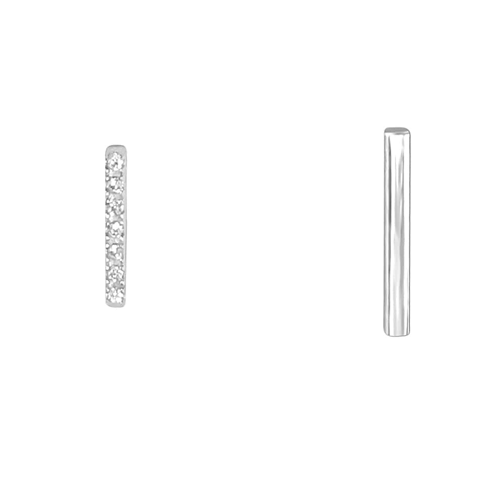 Sterling Silver Bar Stud Earrings for Women