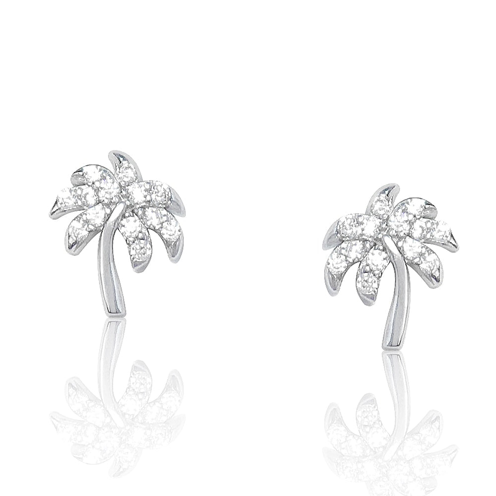 Sterling Silver Tropical Palm Tree Earrings