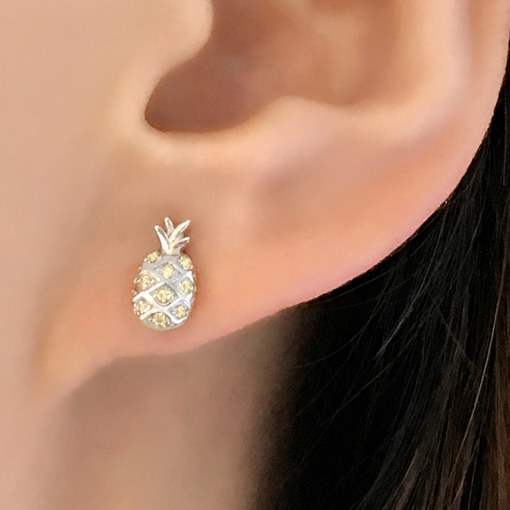 Sterling Silver Yellow CZ Pineapple Earrings for Women and Girls 2