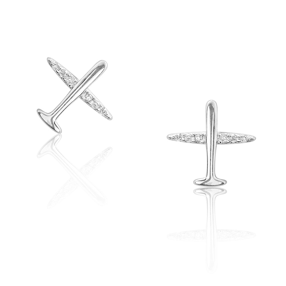 Silver Personality Cz Aircraft Earrings Studs
