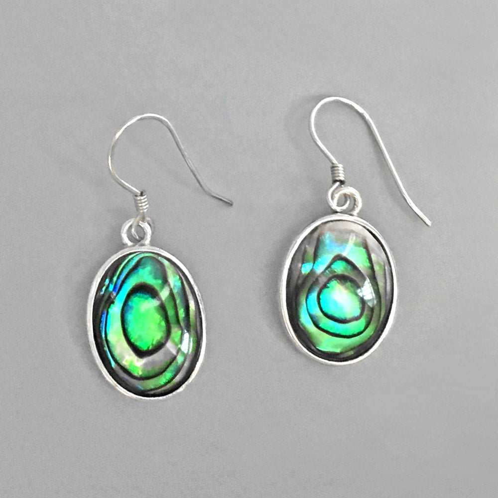 Sterling Silver Abalone Shell Dangle Hook Earrings