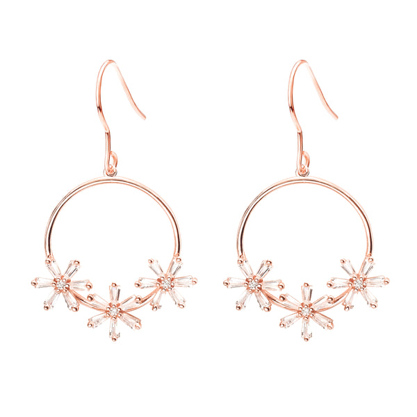 Sterling Silver Rose Gold Plated Round Dangle Flower Earrings