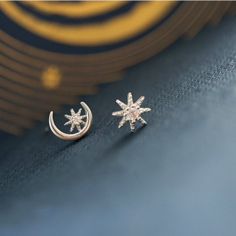 Sterling Silver Fashion Asymmetrical Moon and Star Earrings