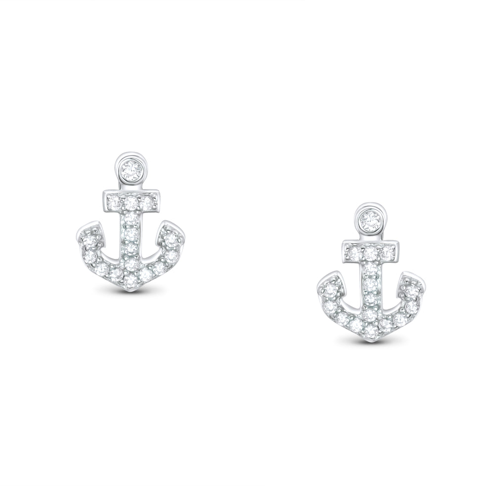 925 Sterling Silver Cubic Zirconia Anchor Earrings
