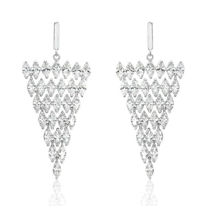 Sterling Silver Statement Marquise CZ Triangle Earrings Dangle 2