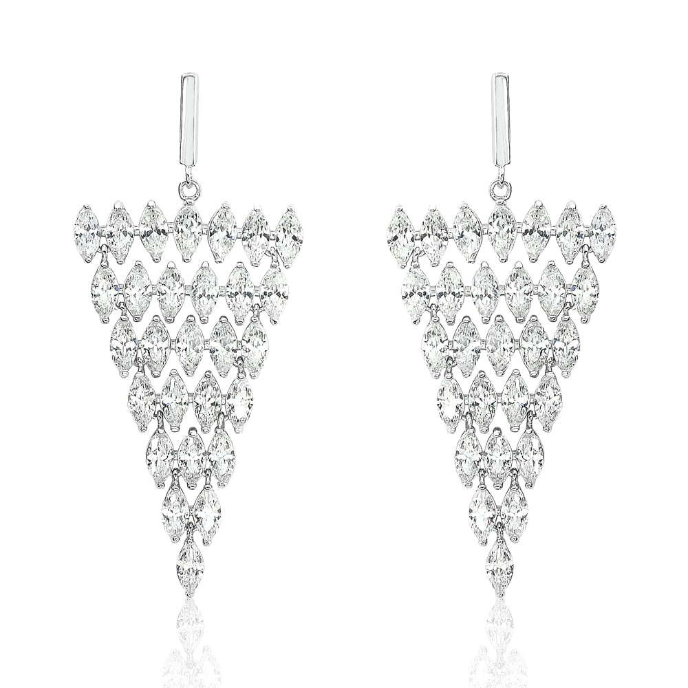 Sterling Silver Statement Marquise CZ Triangle Earrings Dangle
