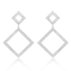Statement Sterling Silver CZ Big Square Earrings 2