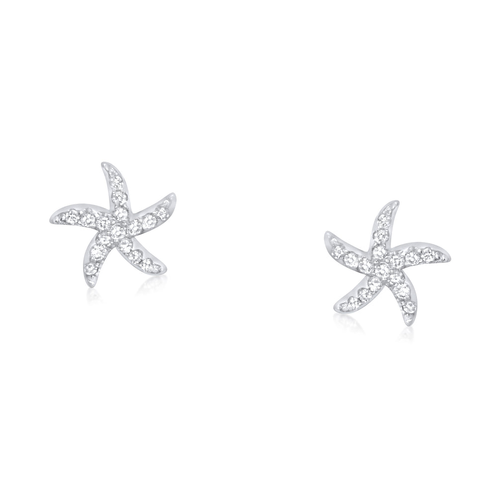 Sterling Silver CZ Mini Starfish Earrings