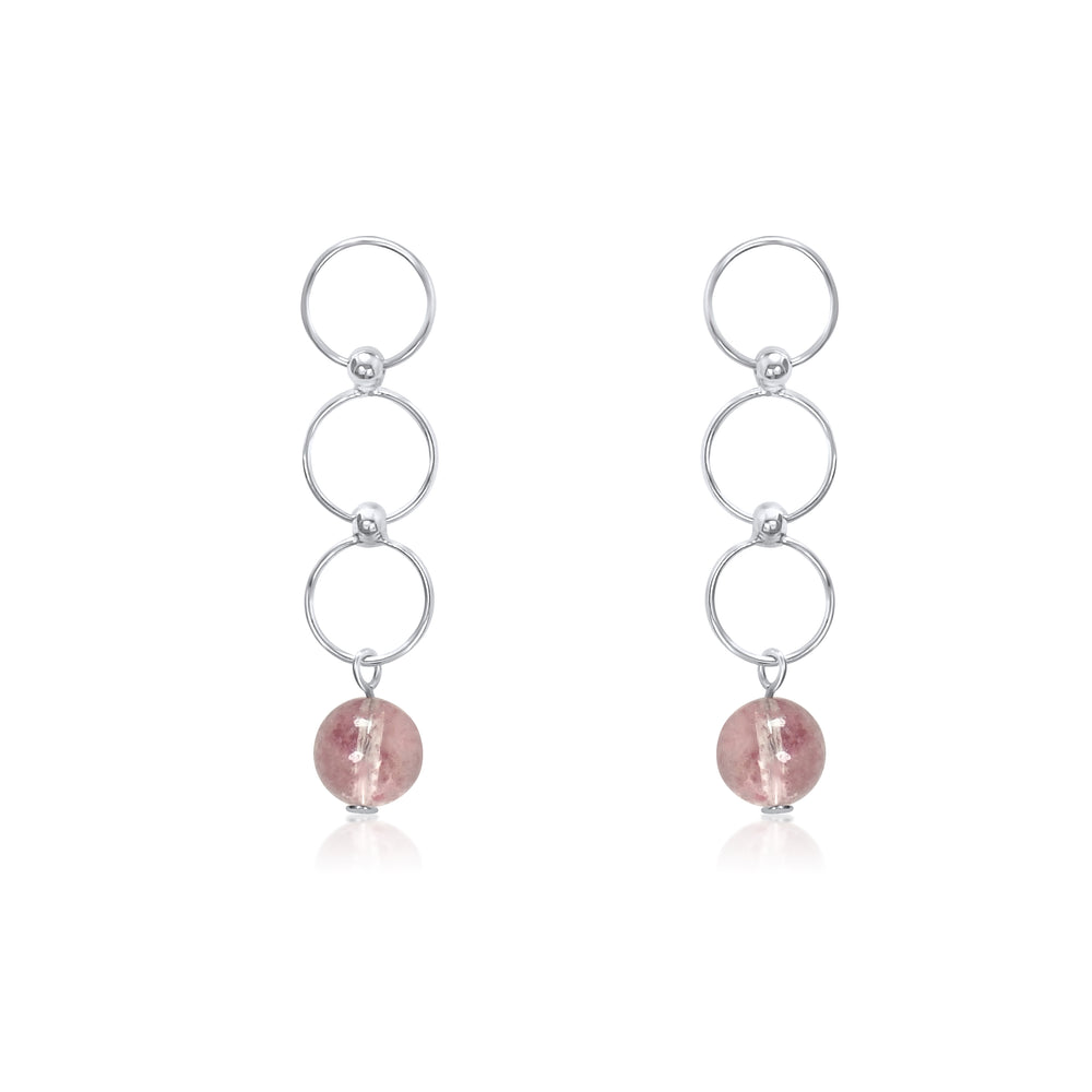 Silver Strawberry Quartz Tiny Circle Dangling Earrings