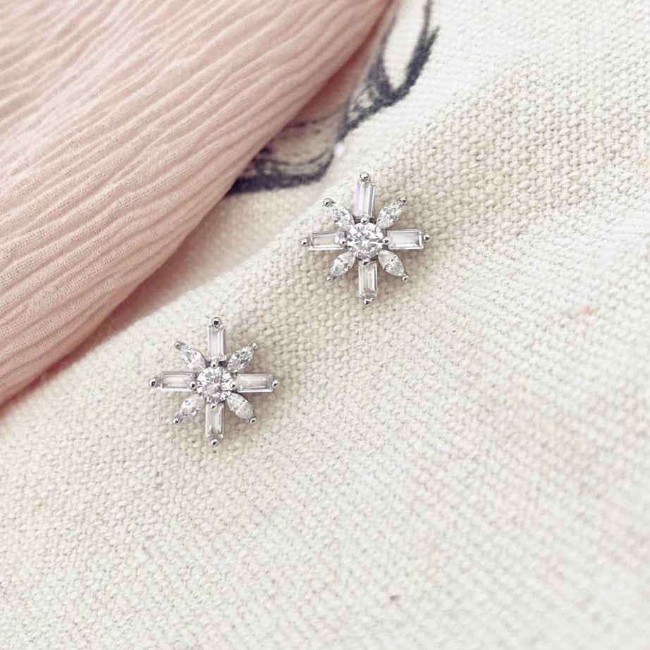 Elegant Flower CZ Stud Earrings for Women Girls 2
