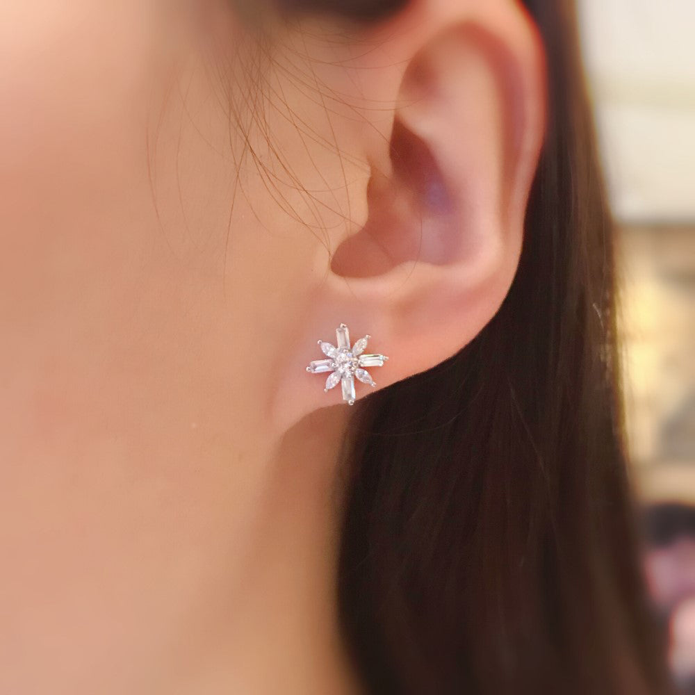 Elegant Flower CZ Stud Earrings for Women Girls 3