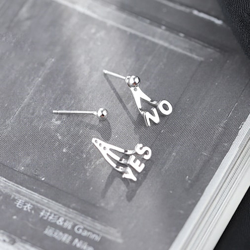 Sterling Silver Yes and No Jacket Earrings 5