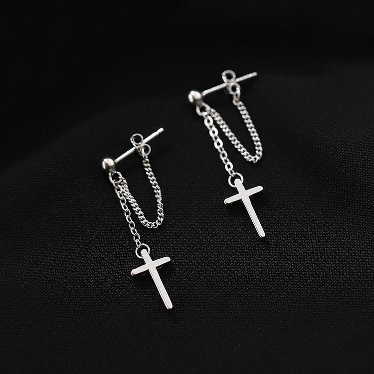 Sterling Silver Dangle Cross Threader Tassel Chain Wrap Earrings 3