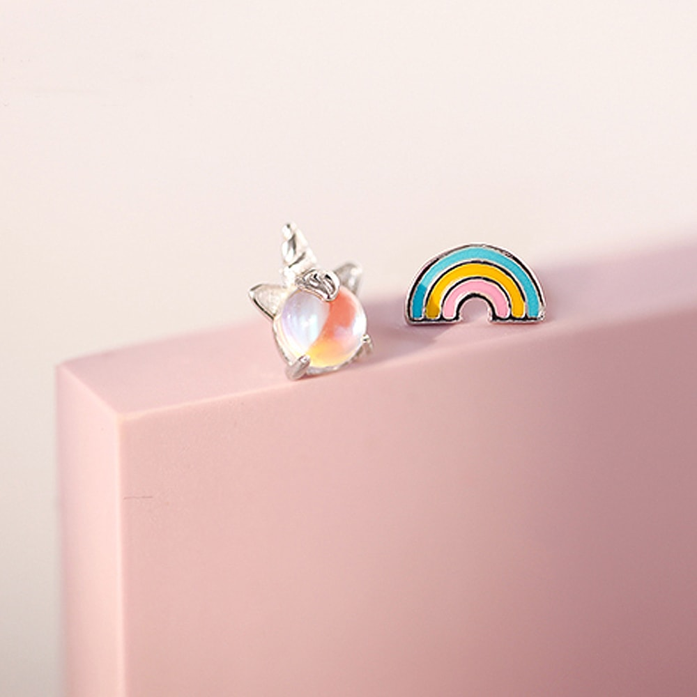 Sterling Silver Rainbow Unicorn Stud Earrings 2
