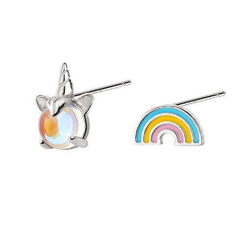 Sterling Silver Rainbow and Unicorn Stud Earrings