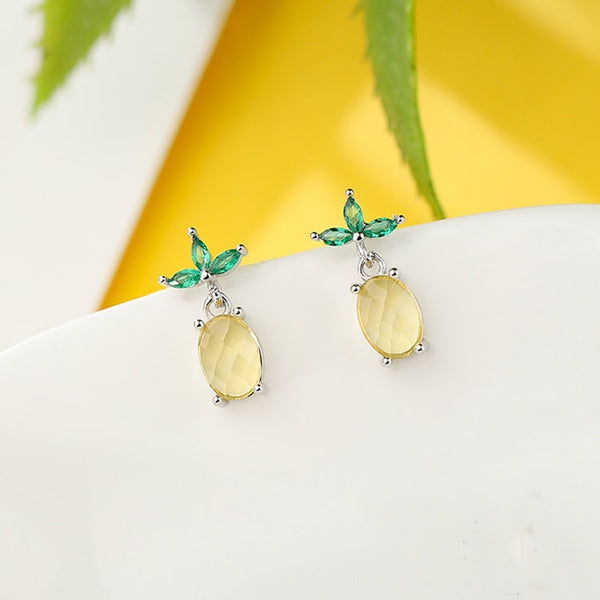 Yellow Emerald Sparkling Trendy Pineapple Silver Earrings Stud