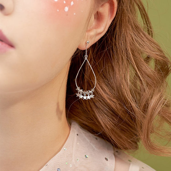 Sparkling Stars Sterling Silver Teardrop Hoop Earrings