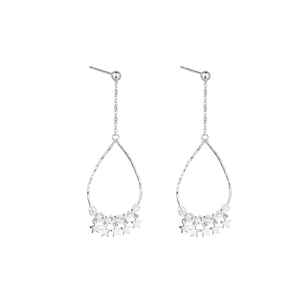 Sparkling Stars Sterling Silver Teardrop Hoop Earrings 7